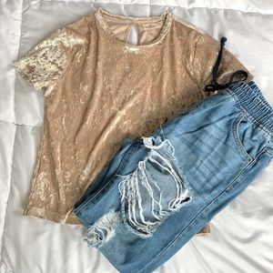 Hollister Velvet Velour Baby Short Sleeve Shirt